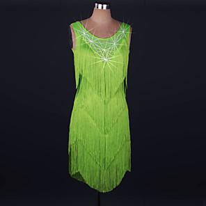 cheap Latin Dancewear-Latin Dance Dress Tassel Crystals / Rhinestones Women's Performance Sleeveless High Lace Spandex