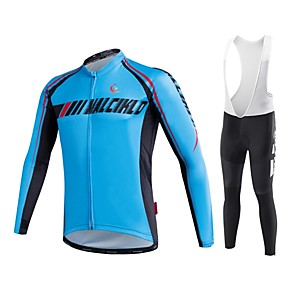 cheap Cycling Jersey & Shorts / Pants Sets-Malciklo Men's Long Sleeve Cycling Jersey with Bib Tights White Black Geometic British Bike Tights Clothing Suit Breathable 3D Pad Quick Dry Sports Coolmax® Elastane Lycra Geometic Mountain Bike MTB