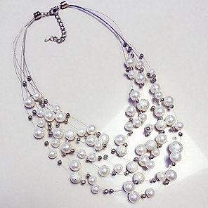 cheap Necklaces-Women's Pearl Statement Necklace Layered Floating Statement Ladies European Pearl Pearl White Necklace Jewelry For Daily Casual