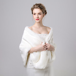 cheap Wedding Wraps-Shawls Faux Fur / Imitation Cashmere Wedding / Party Evening Women's Wrap With Pattern