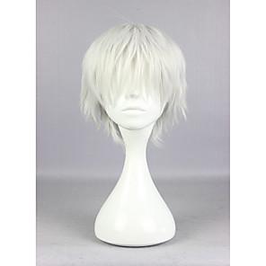 ราคาถูก วิกผมคอสตูม-วิกผมสังเคราะห์ / วิกคอสตูม ความหงิก Kardashian สไตล์ กับ Bangs ไม่มีฝาครอบ ผมปลอม สีขาว สีเงิน สังเคราะห์ สำหรับผู้หญิง สีขาว วิก Short hairjoy