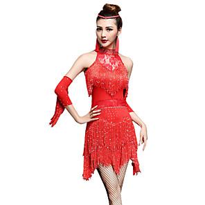 cheap Latin Dancewear-Latin Dance Dress Tassel Crystals / Rhinestones Women's Performance Sleeveless High Nylon Chinlon