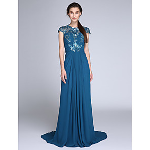 cheap Prom Dresses-Sheath / Column Chinese Style Holiday Cocktail Party Formal Evening Dress Illusion Neck Sleeveless Sweep / Brush Train Chiffon Sequined with Ruched Side Draping 2020