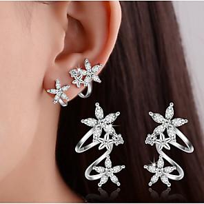cheap Earrings-Women's Crystal Synthetic Diamond Stud Earrings Clip on Earring cuff Leaf Heart Flower Ladies Basic Double-layer Elegant Bling Bling everyday Sterling Silver Earrings Jewelry Gold / Silver For
