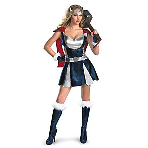 cheap Movie & TV Theme Costumes-Super Heroes Cosplay Costume Party Costume Women's More Uniforms Halloween Festival / Holiday Cotton Blue Carnival Costumes Print