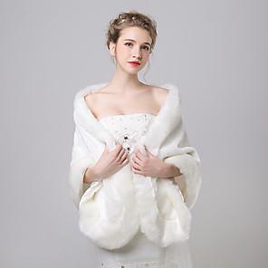 cheap Wedding Wraps-Shawls Faux Fur / Imitation Cashmere Wedding / Party Evening Women's Wrap With Pattern