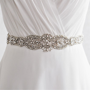 cheap Party Sashes-Satin Wedding / Party / Evening Sash With Rhinestone / Imitation Pearl / Beading Women's Sashes / Sequin