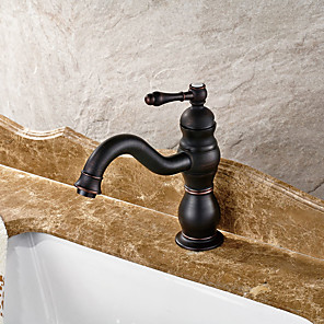 cheap Shower Faucets-Bathroom Sink Faucet - Widespread Oil-rubbed Bronze Centerset Single Handle One HoleBath Taps