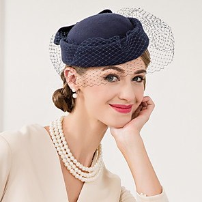 cheap Weddings & Events-Wool / Net Kentucky Derby Hat / Fascinators / Hats with Floral 1pc Wedding / Special Occasion / Casual Headpiece