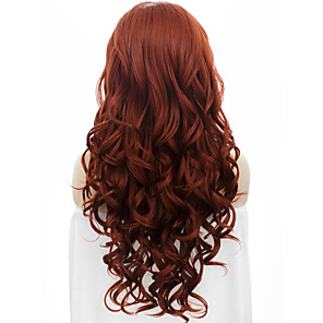 cheap Synthetic Trendy Wigs-Synthetic Wig Wavy Wavy Lace Front Wig Auburn Synthetic Hair Red