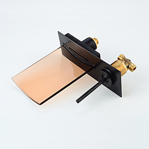 cheap Bathroom Sink Faucets-Modern Bathroom Sink Faucet - Waterfall / LED Lighting Oil-rubbed Bronze Wall Mounted Single Handle Two HolesBath Taps / Brass