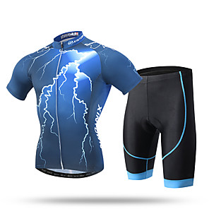 cheap Cycling Jersey & Shorts / Pants Sets-XINTOWN Men's Short Sleeve Cycling Jersey with Shorts Blue Bike Shorts Pants / Trousers Jersey Breathable 3D Pad Quick Dry Ultraviolet Resistant Reflective Strips Sports Spandex Coolmax® Mesh Novelty