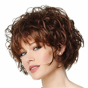cheap Synthetic Trendy Wigs-Synthetic Wig Curly Curly Pixie Cut With Bangs Wig Short Brown Synthetic Hair Women's Heat Resistant Brown
