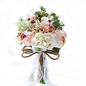 """cheap Party Hats-Wedding Flowers Bouquets Wedding / Party / Evening Taffeta / Spandex / Dried Flower 9.84""""(Approx.25cm)"""