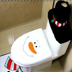 cheap Christmas Decorations-3Pcs/Set Santa Ornament Snowman Toilet Seat Cover Rug Bathroom Mat Set Christmas Xmas Decoration For Home