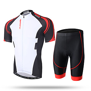 cheap Bikes-Men's Short Sleeve Cycling Jersey with Shorts Coolmax® Mesh Lycra White / Black Novelty Bike Shorts Pants / Trousers Jersey Breathable 3D Pad Quick Dry Ultraviolet Resistant Reflective Strips Sports