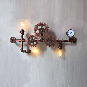 cheap Indoor Wall Lights-Vintage Industrial Pipe Wall Lights Wood Gear Shape Creative turnable Lights Restaurant Cafe Bar Decoration lighting