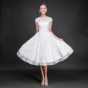cheap Bridesmaid Dresses-A-Line Jewel Neck Knee Length Lace Bridesmaid Dress with Sash / Ribbon