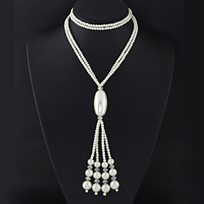 cheap Necklaces-Women's Necklace Y Necklace Tassel Fringe Long Double Ladies Tassel European Fashion Pearl Alloy White Necklace Jewelry For Wedding Party Daily Masquerade Engagement Party Prom / Long Necklace