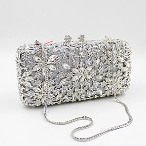 cheap Clutches & Evening Bags-Women's Crystal / Rhinestone Metal Evening Bag Wedding Bags Floral Print Black / Gold / Silver