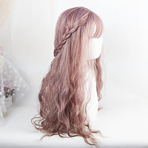 cheap Synthetic Lace Wigs-Synthetic Wig Loose Wave Loose Wave With Bangs Wig Purple Synthetic Hair Women's Purple