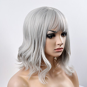 cheap Costume Wigs-Synthetic Wig Natural Wave Natural Wave Bob With Bangs Wig Short Grey Synthetic Hair Women's Gray