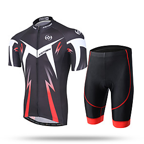 cheap Cycling Jersey & Shorts / Pants Sets-Men's Short Sleeve Cycling Jersey with Shorts Green and Black Black / Red Novelty Bike Shorts Pants / Trousers Jersey Breathable 3D Pad Quick Dry Ultraviolet Resistant Reflective Strips Sports / Mesh