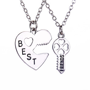 cheap Pendant Necklaces-Men's Women's Pendant Necklace Engraved Heart life Tree Best Friends Friendship Relationship Personalized Love Magnetic Therapy Double Sided Alloy Silver Necklace Jewelry For Wedding Daily Casual