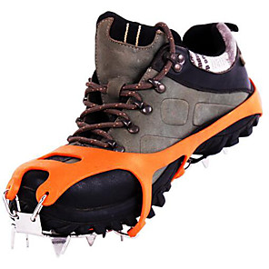 cheap Camping Tools, Carabiners & Ropes-Traction Cleats / Climbing Shoes / Crampons Anti Slip / 18 Spikes Stainless Steel / Rubber for Hiking / Snowsports
