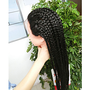 cheap Synthetic Lace Wigs-Synthetic Lace Front Wig Afro Braid Lace Front Wig Long Natural Black Synthetic Hair Women's Heat Resistant For Black Women African Braids Black