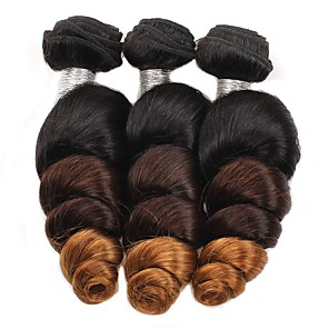 cheap 3 Bundles with Closure-3 Bundles Hair Weaves Brazilian Hair Loose Wave Human Hair Extensions Remy Human Hair 100% Remy Hair Weave Bundles 300 g Ombre Hair Weaves / Hair Bulk Human Hair Extensions 8-28 inch Ombre Shedding