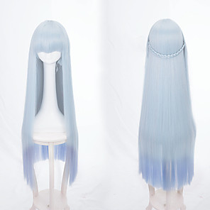 cheap Costume Wigs-Synthetic Wig Straight Straight Wig Blue Synthetic Hair Women's Ombre Hair Braided Wig African Braids Blue