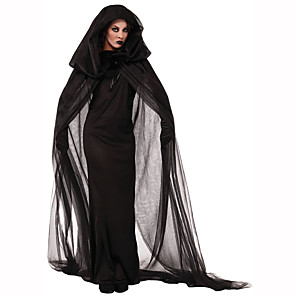 Недорогие Товары для Хэллоуина-ведьма Жен. Хэллоуин Фестиваль / праздник Полиэстер Черный Мужской Карнавальные костюмы Однотонный