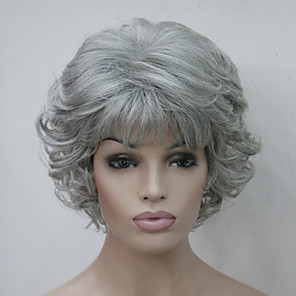cheap Synthetic Trendy Wigs-Synthetic Wig Curly Curly With Bangs Wig Short Grey Synthetic Hair Women's Side Part With Bangs Gray