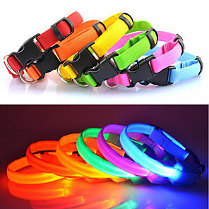 cheap Classical-Cat Dog Collar Light Up Collar LED Lights Adjustable / Retractable Solid Colored Nylon Rainbow Yellow