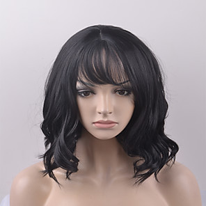 cheap Synthetic Trendy Wigs-Synthetic Wig Natural Wave Natural Wave Wig Short Natural Black Synthetic Hair Women's Black