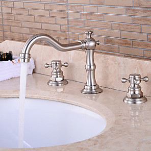cheap Bathroom Sink Faucets-Bathtub Faucet - Victoria / Waterfall / Widespread Nickel Brushed Widespread Two Handles Three HolesBath Taps