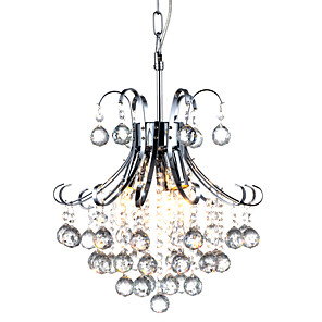 cheap Candle-Style Design-QINGMING® 3-Light 35cm(29.5inch) Crystal Chandelier Metal Chrome Traditional / Classic 110-120V / 220-240V