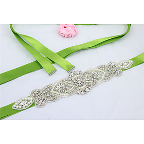 cheap Party Sashes-Satin Wedding / Party / Evening / Dailywear Sash With Rhinestone / Imitation Pearl / Beading Women's Sashes