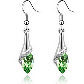 cheap Earrings-Women's Sapphire Cubic Zirconia Earrings Hanging Earrings Ladies Fashion Zircon Earrings Jewelry Red / Blue / Green For Daily Casual