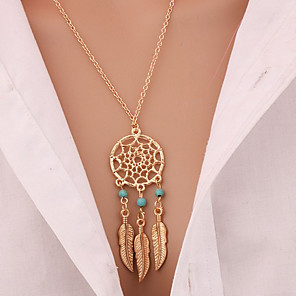 cheap Necklaces-Women's Turquoise Pendant Necklace Long Necklace Leaf Wings Feather Dream Catcher Statement Ladies Tassel Bohemian Gold Plated Turquoise Alloy Golden Necklace Jewelry For Christmas Gifts Daily Casual
