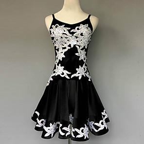 cheap Latin Dancewear-Latin Dance Dress Sequin Appliques Flower Women's Performance Sleeveless Natural Velvet