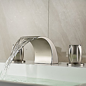 cheap Bathroom Sink Faucets-Bathroom Sink Faucet - Waterfall Nickel Brushed Widespread Two Handles Three HolesBath Taps / Brass