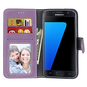 cheap Samsung Case-Case For Samsung Galaxy S7 edge / S7 / S6 edge Wallet / Card Holder / Flip Full Body Cases Solid Colored Hard PU Leather