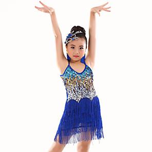 cheap Kids' Dancewear-Latin Dance Dress Sequin Tassel Girls' Performance Sleeveless Natural Polyester