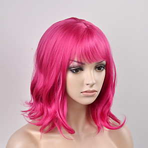 cheap Synthetic Trendy Wigs-Synthetic Wig Natural Wave Kardashian Natural Wave Wig Pink Short Red Synthetic Hair Women's Pink