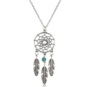 cheap Synthetic Trendy Wigs-Women's Turquoise Pendant Necklace Y Necklace Long Necklace Tassel Leaf Wings Flower Feather Dream Catcher Ladies Tassel Vintage Bohemian Gold Plated Turquoise Alloy Silver Necklace Jewelry For