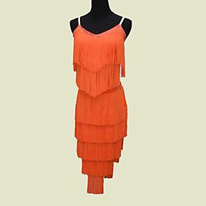 cheap Latin Dancewear-Latin Dance Dress Tassel Crystals / Rhinestones Women's Performance Sleeveless Natural Spandex
