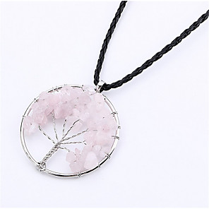 cheap Pendant Necklaces-Pendant Necklace faceter Wire Wrap Tree of Life life Tree Ladies Fashion Silver Rainbow Red / White Black / Blue Purple Pink Necklace Jewelry For Birthday Gift Daily