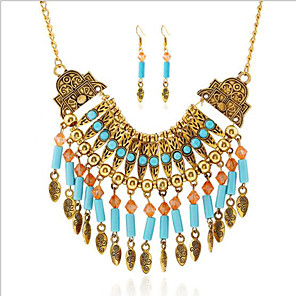 cheap Jewelry Sets-Women's Turquoise Bohemian Folk Style Turquoise Earrings Jewelry Gold / Silver For Party Daily Casual